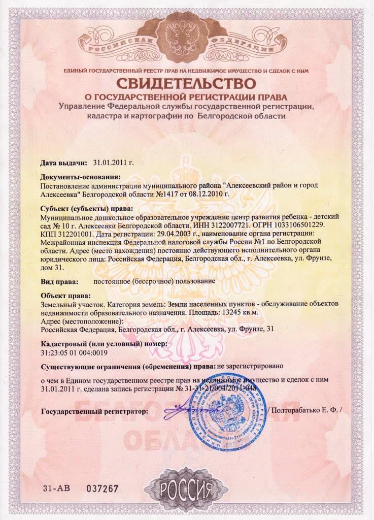 Свидетельство о гос.регистрации права. Земельный участок